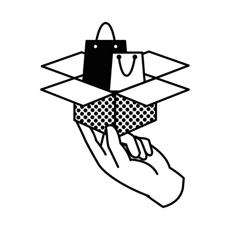 Filling texture hand with shoping bag inside box package Illustration