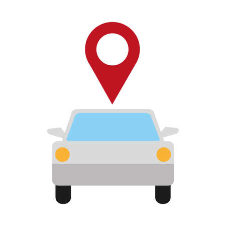 color shadow vehicle transport with location map symbol Illustration