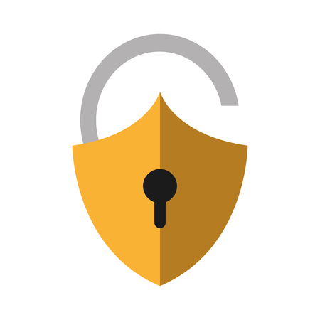 color shadow open padlock shield to security object