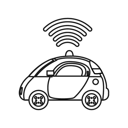 Outline police car with digital wifi connection