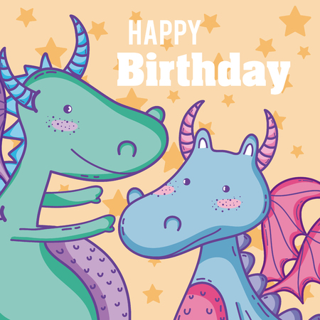 Happy Birthday Card Cute Dragon Cartoons Royalty Free Cliparts