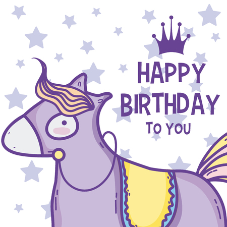 Happy Birthday Card Cute Horse Cartoons Royalty Free Cliparts