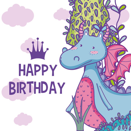 Happy Birthday Card Cute Cartoons Royalty Free Cliparts Vectors