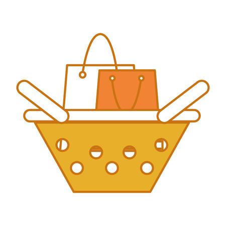 Color shopping bag inside basket shop Illustration