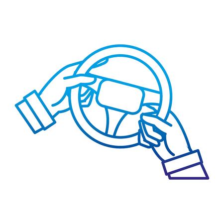 degraded line man hands driveing steering wheel Illustration