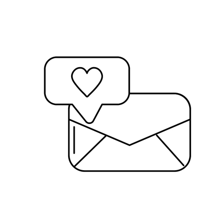 Line e-mail message and chat bubble with heart