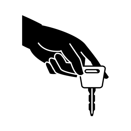 Silhouette hand with car key security object illustration.