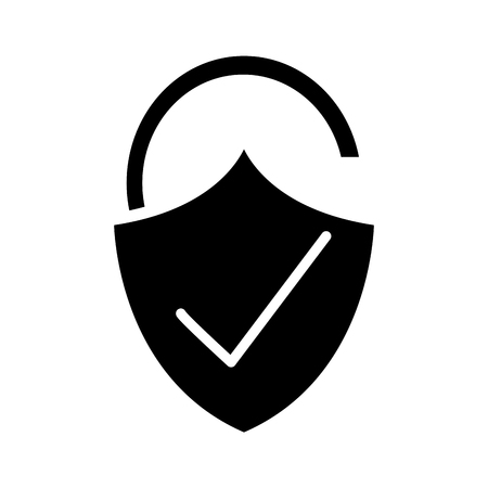 Silhouette open padlock shield with good protection. Illustration