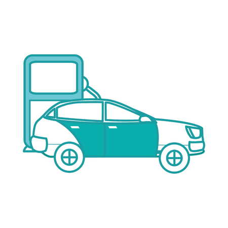 duo color car tranport in the gas station fuel Illustration