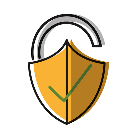 Moved color open padlock shield with good protection. Illustration