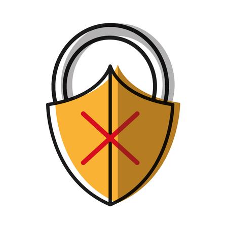 moved color close padlock shield with bag protection Ilustração