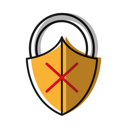 moved color close padlock shield with bag protection Illustration