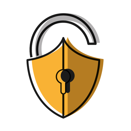 moved color open padlock shield to security object Illustration
