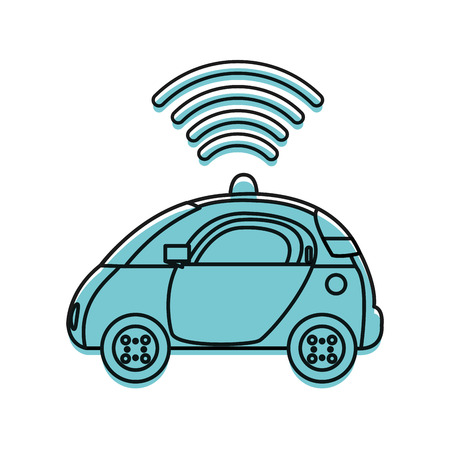 moved color police car with digital wifi connection Illustration