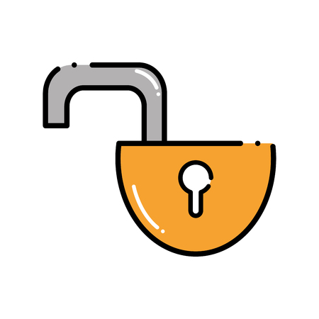 dashed line open padlock object to protection privacy Illustration