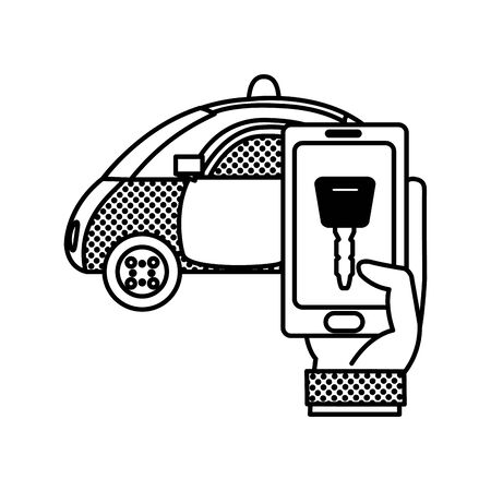 filling texture police car and hand with smartphone digital key Illustration