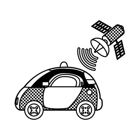 filling, texture police car with satellite wifi connection vector illustration