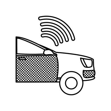 filling texture digital wifi connection in the car transport vector illustration
