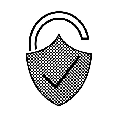 filling texture open padlock shield with good protection vector illustration Ilustrace