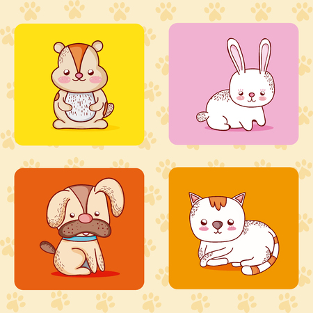 Cute pets collection cartoons vector illustration graphic design