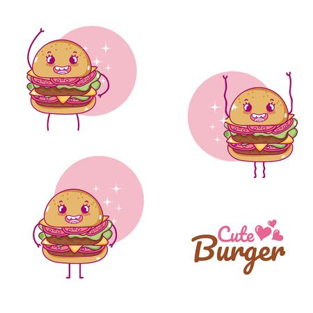 Cute burgers cartoons illustration.