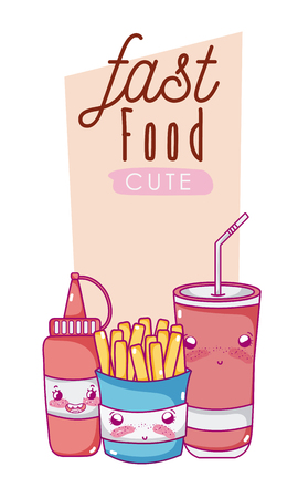 Cute fast food combo cartoon vector illustration graphic design Ilustração