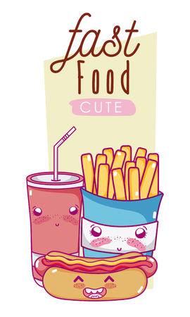 Cute fast food cartoon illustration. Çizim
