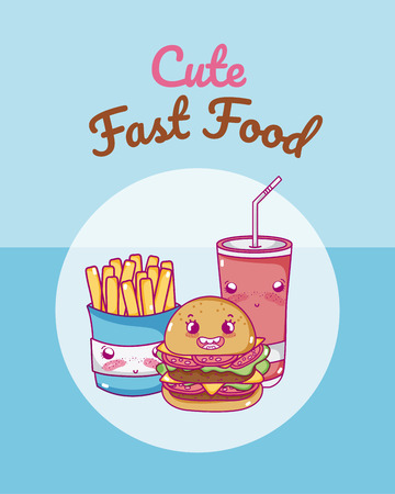 Cute fast food combo cartoon vector illustration graphic design Illustration