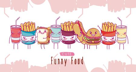 Cute funny fast food cartoons vector illustration graphic design