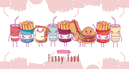 Cute funny fast food cartoons vector illustration graphic design
