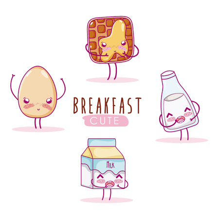 Cute breakfast ingredients cartoon vector illustration graphic design. Ilustracja