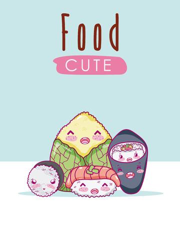 Cute japanese food kawaii cartoon vector illustration graphic design