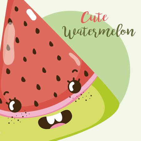 Cute watermelon kawaii cartoon vector illustration graphic design