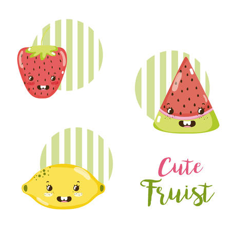 Cute fruits kawaii cartoons vector illustration graphic design Vectores
