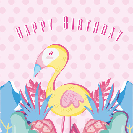 Happy birthday tropical pastel colors card vector illustration graphic design