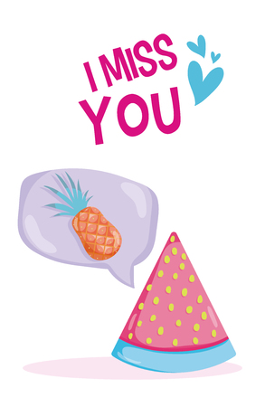 I miss you tropical card with pastel colors vector illustration graphic design