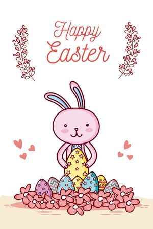 Happy easter card with cute animal cartoon Vectores