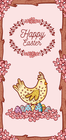 Happy easter card with cute animal cartoon Illustration
