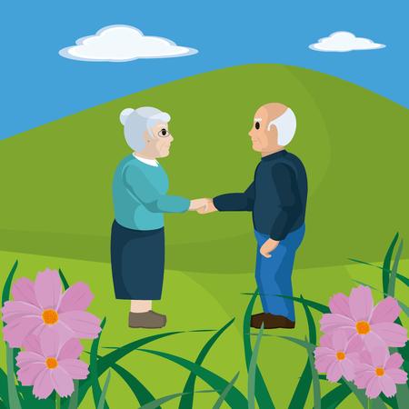 Cute grandparents couple cartoon illustration.