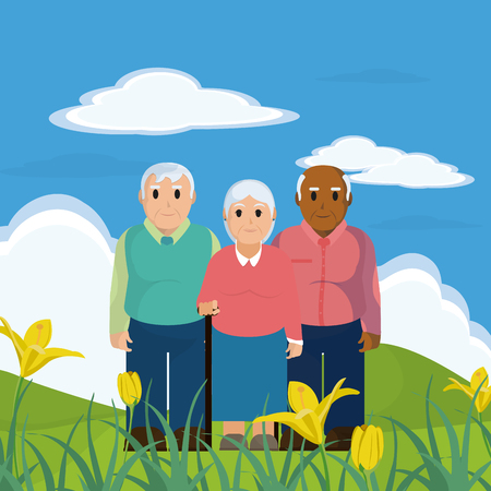 Group of the elderly illustration.