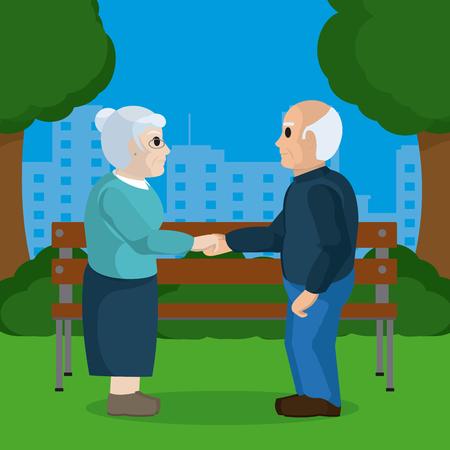 Cute grandparents couple on park holding hands illustration