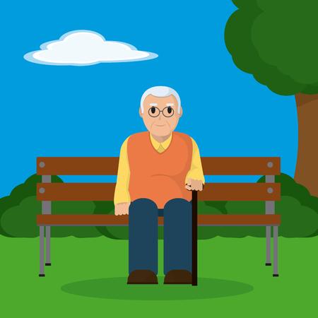 Abuelo sentado en una silla de madera en el diseño gráfico del ejemplo del parque Foto de archivo - 96818101
