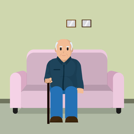 Grandfather seated on armchair