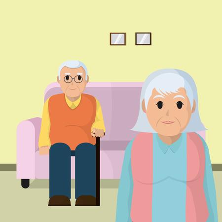Cute grandparents couple in room vector illustration graphic design