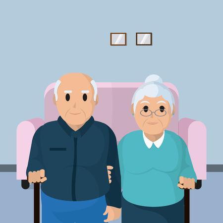 Cute grandparents couple cartoon vector illustration graphic design Иллюстрация