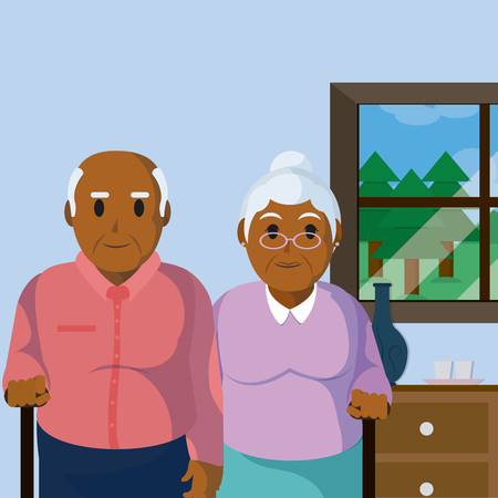 Cute grandparents couple in room vector illustration graphic design