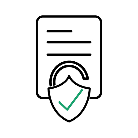 Line business document paper with padlock good security vector illustration Vectores