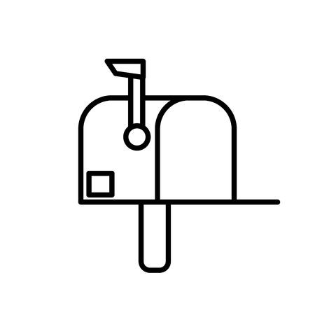 Line mailbox postage correspondence send message vector illustration Stock Illustratie
