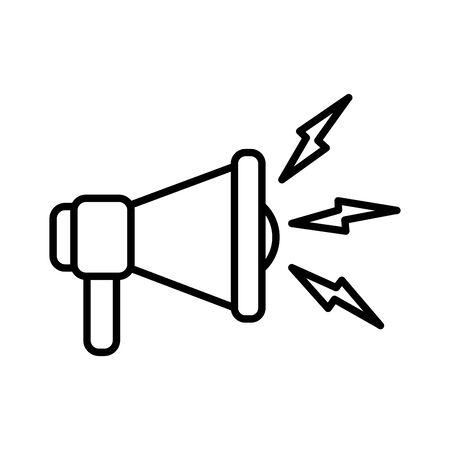 Line megaphone sound audio message communication vector illustration