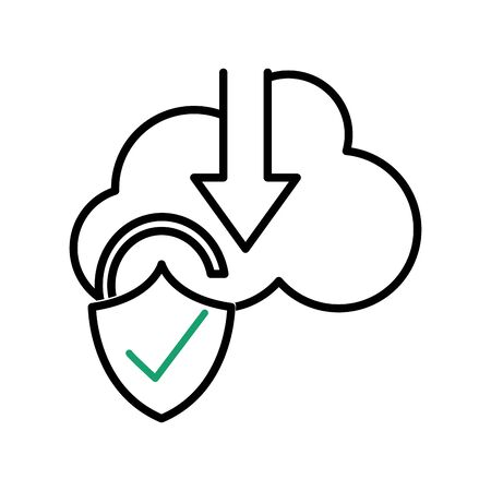 Line cloud data downloading and padlock good security vector illustration